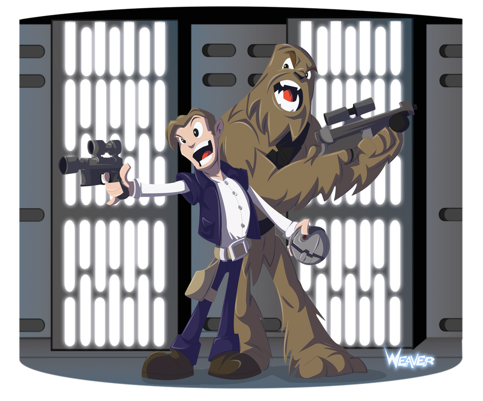 Han and Chewie on the Death Star