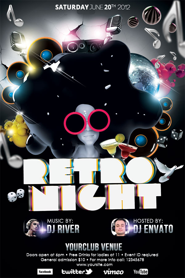 Retro Nights Flyer Template By Koza On Deviantart