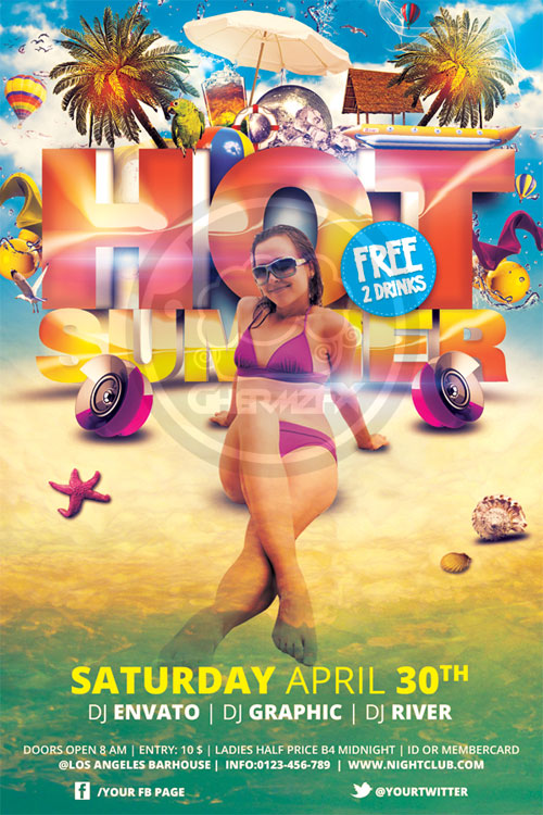 Hot Summer Flyer Template By Koza30 ...