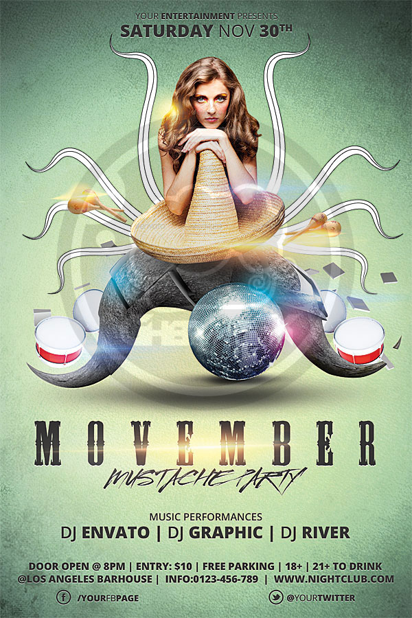 Movember Mustache Party Flyer Template by koza30