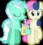 Bon Bon and Lyra and Tasty Beverage by ComradeSparkle