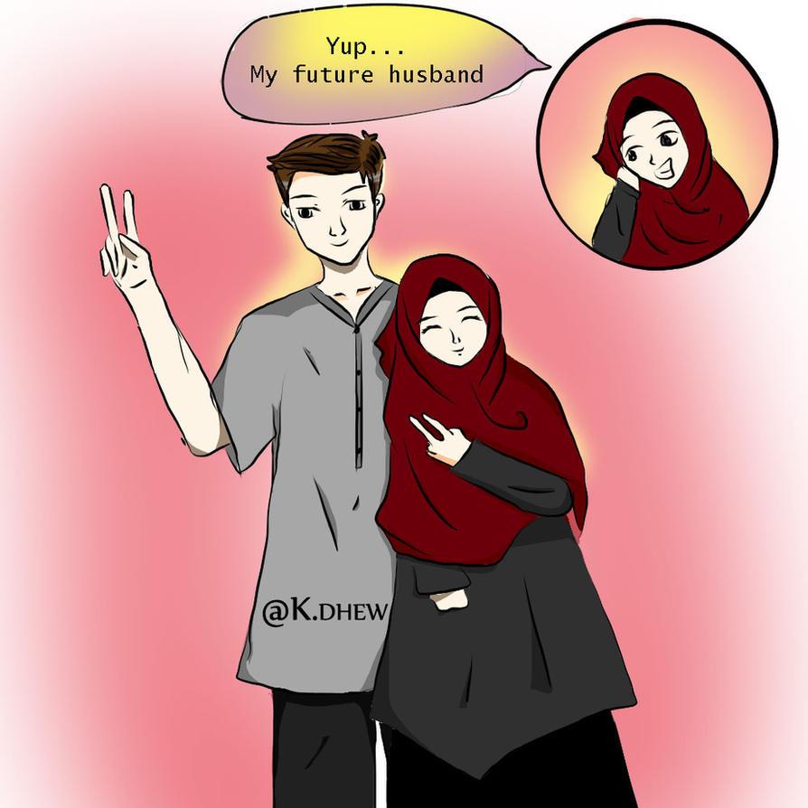 55+ Gambar Kartun Pasangan Romantis Muslim HD Terbaru