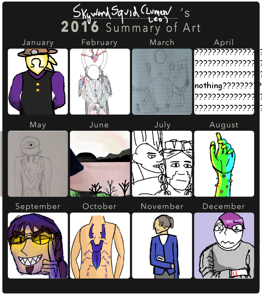 my 2016 summary of art :0 by skywardsquid