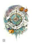 wind rose tattoo commission