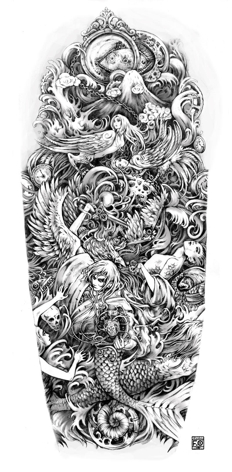 Tattoo Sleeve Stencils: Fullsleeve Commission By Asfahani On DeviantArt