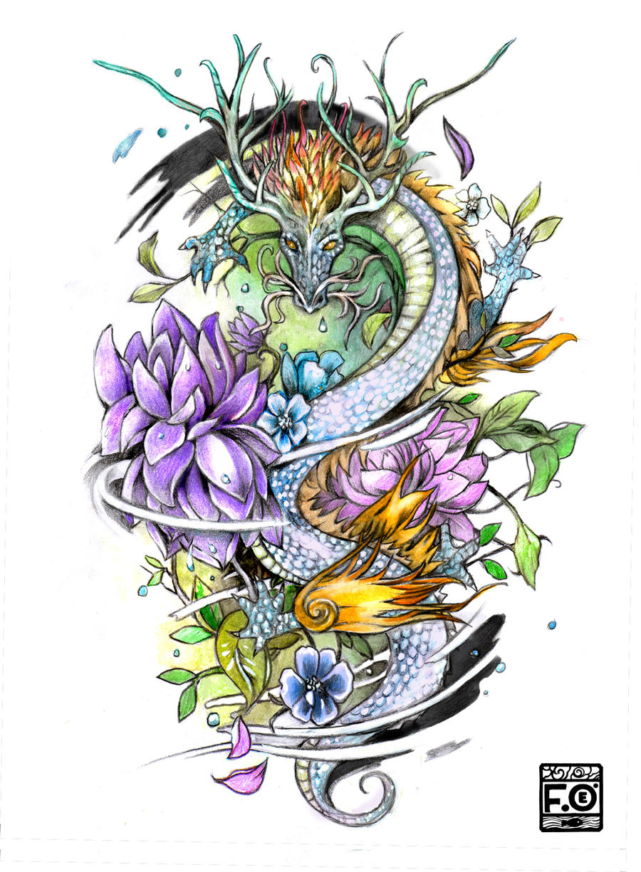 Dragon tattoo commission by asfahani on deviantart for Dragon lily tattoo