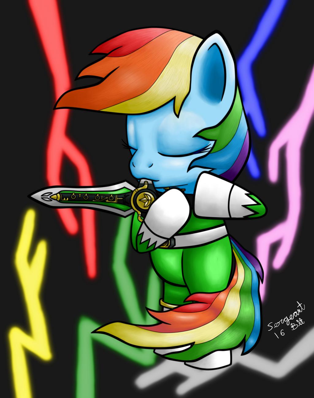 Mighty Morphin Rainbow Dash by sergeant16bit