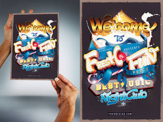 Fresh and fun party flyer psd