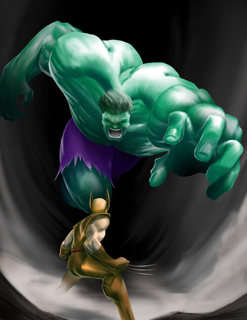 Hulk vs Wolverine by ikitaina