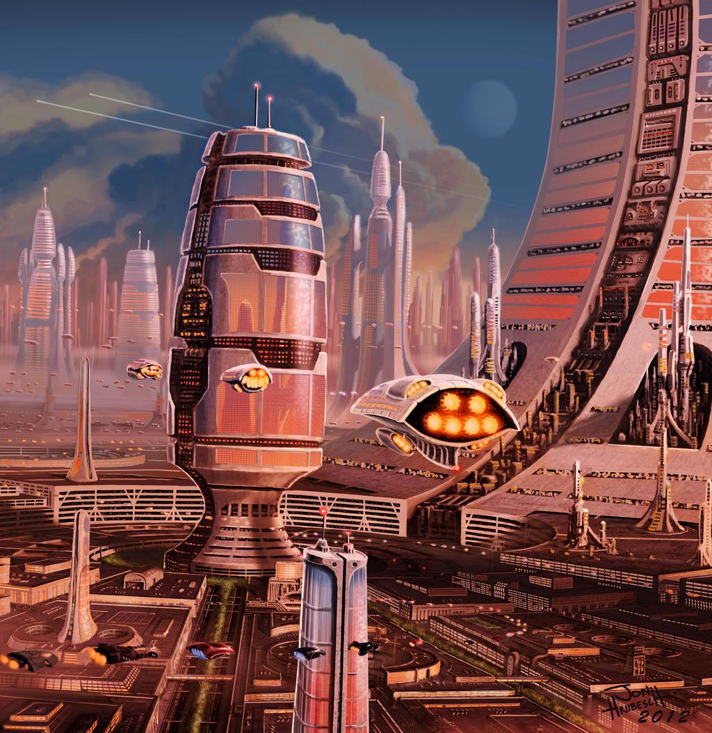 Vintage Science Fiction Wallpaper Google Search: Future City By JonHrubesch On DeviantArt