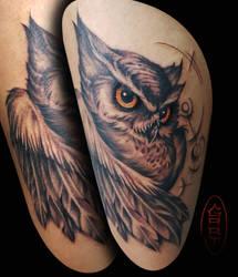 Owl Tattoo by AbrahamGart