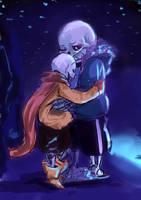 Skelebros hug by paurachan