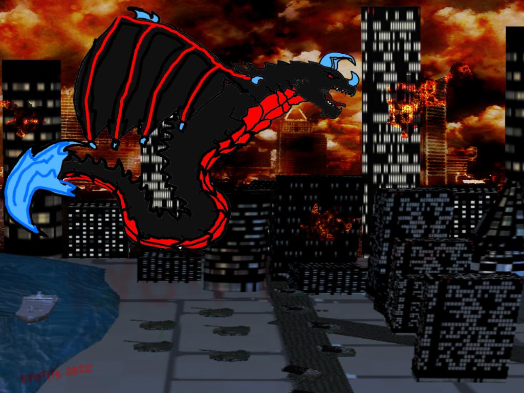 Drawn Kyotita attacks city by Kyotita