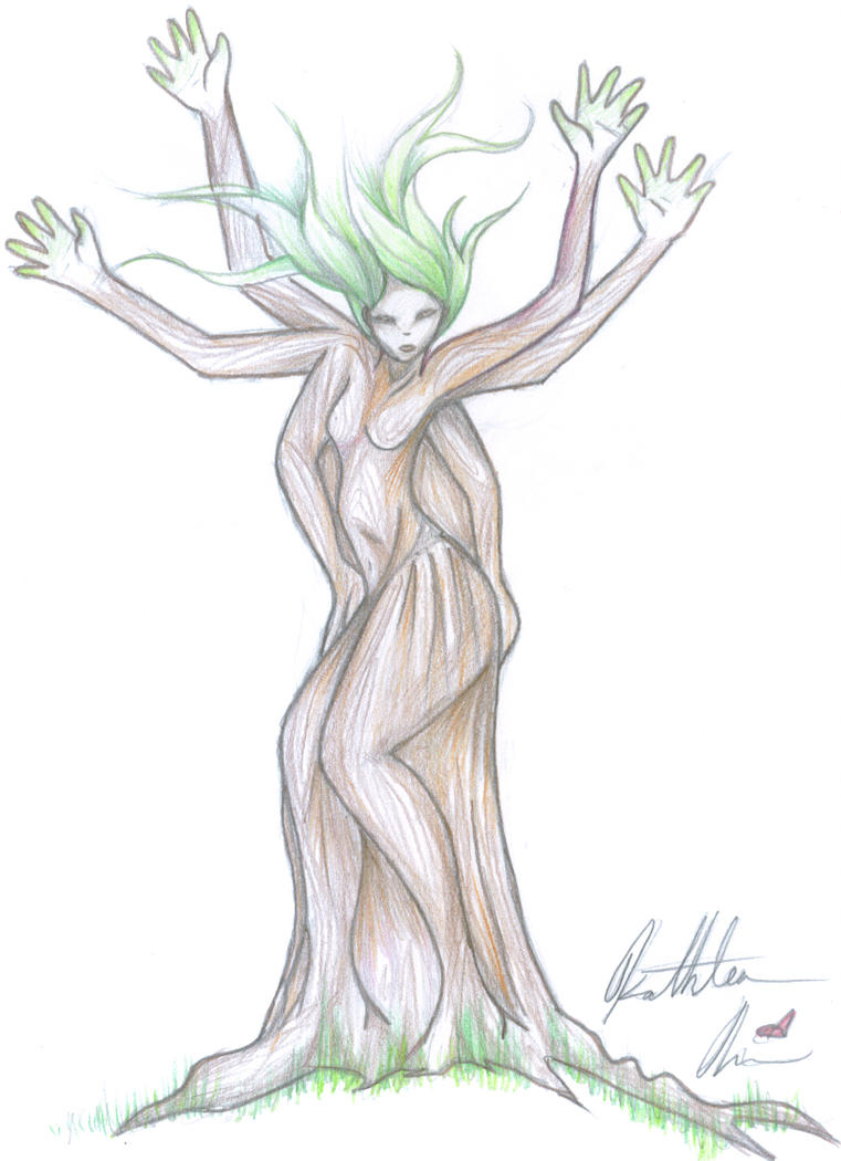 dancing tree spirit - colored by wickedkat