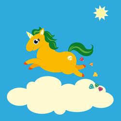 the golden unicorn of glitter poo by kirschstern