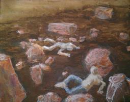 Rockfall painting in progress by geoffsebesta