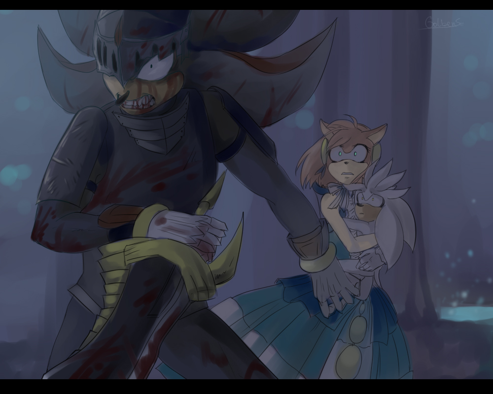 Shadow And Amy (Sonic Black Knight) By CrazySonyaTheChaos