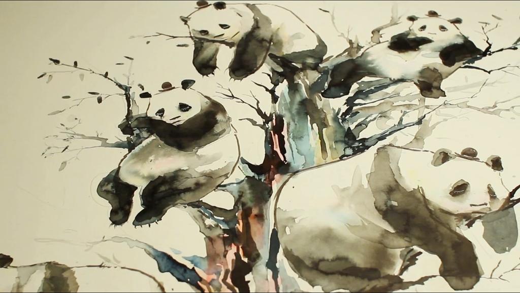 PANDA TREE SPEED DRAWING VIDEO by lora-zombie