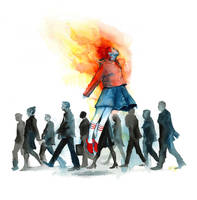Flaming Heart by lora-zombie