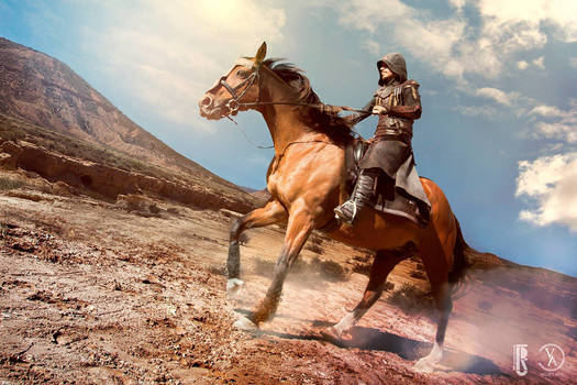 AC movie - Aguilar cosplay costume riding a horse