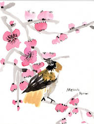 A Sparrow in the Plum Blossoms by Melindotty