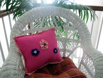 Three Rosette Pillow by Melindotty