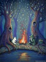 Moomin and Snufkin by nokeek