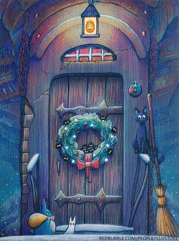 Ghibli Christmas door by nokeek