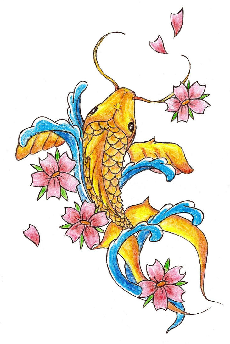 koi fish tattoo sketch by