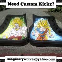 Broly and SSJ3 Goku custom kickz by societymisfit