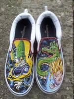 SSJ2 Gohan vs Cell custom shoes by societymisfit