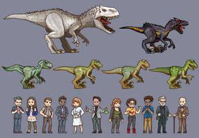 Jurassic World - Pixel Kingdom by AjamsDraws