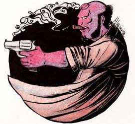 Drawing on postcard - Hellboy(fanart)