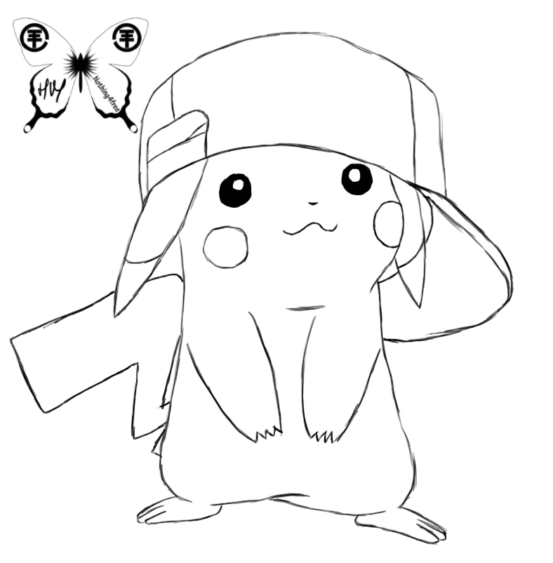 pikachu with hat coloring pages - photo#16