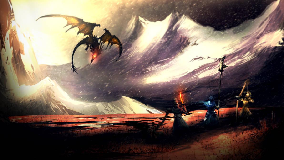 Dark Souls - Dragon Hunting by HAUKKAworks