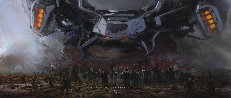 Interstellar chainsaw massacre by novaillusion