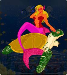 Mermaid Sea Turtle by lunatwo