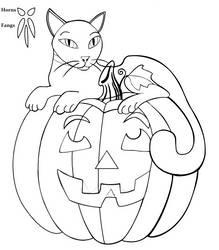pumpkin kitty lineart