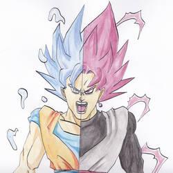 Ssj Blue Goku X Ssj Pink Black
