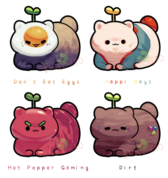 Catbeans_Painted Poses (CLOSED) by BagelHero-Works