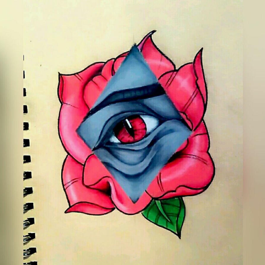neo traditional eyerose tattoo design by dempsey21 on