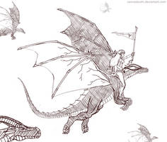 Dragon Off To Battle by canvasbushi
