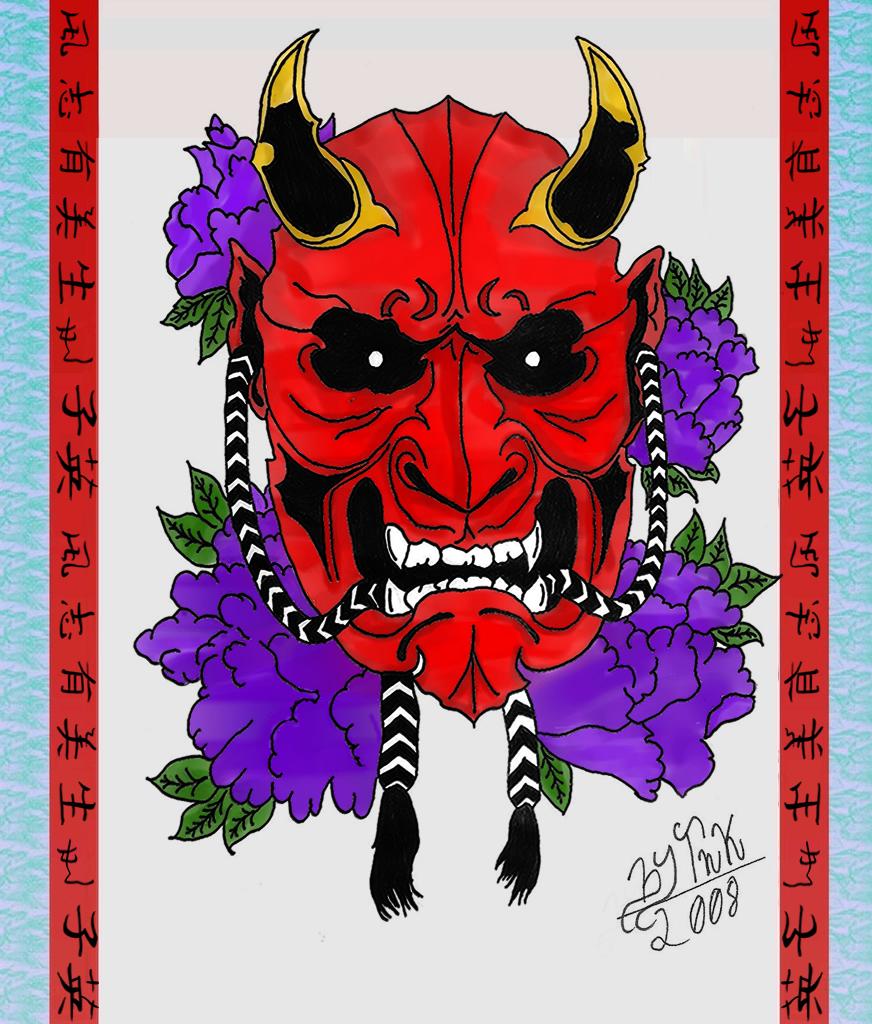 oni mask tattoo designs