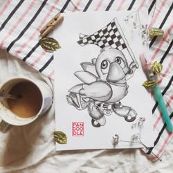 Inktober D30: Chocobo Racing by kuma-panda