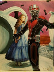 Antman in Wonderland,  acrylic and collage on canv by Cbdesignworks