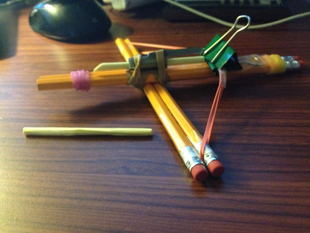 how to make a crossbow with school supplies