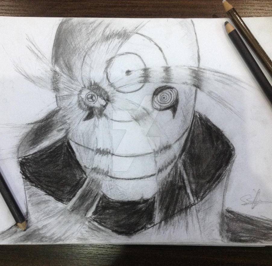 Charcoal pencil drawing uchiha obito by monkibear114