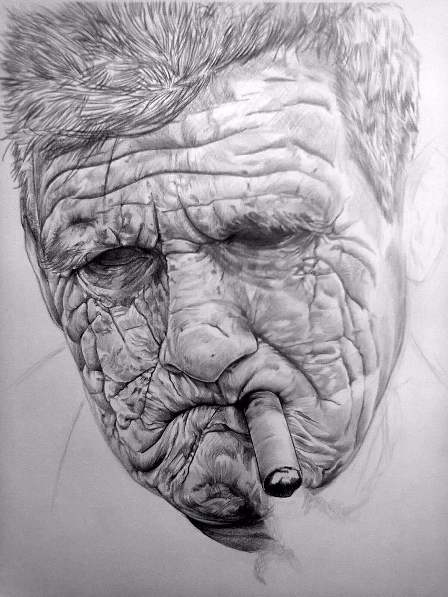 old mans face drawing - photo #9