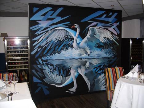 'Wallpainting swan'
