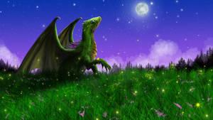 Green dragon digital painting